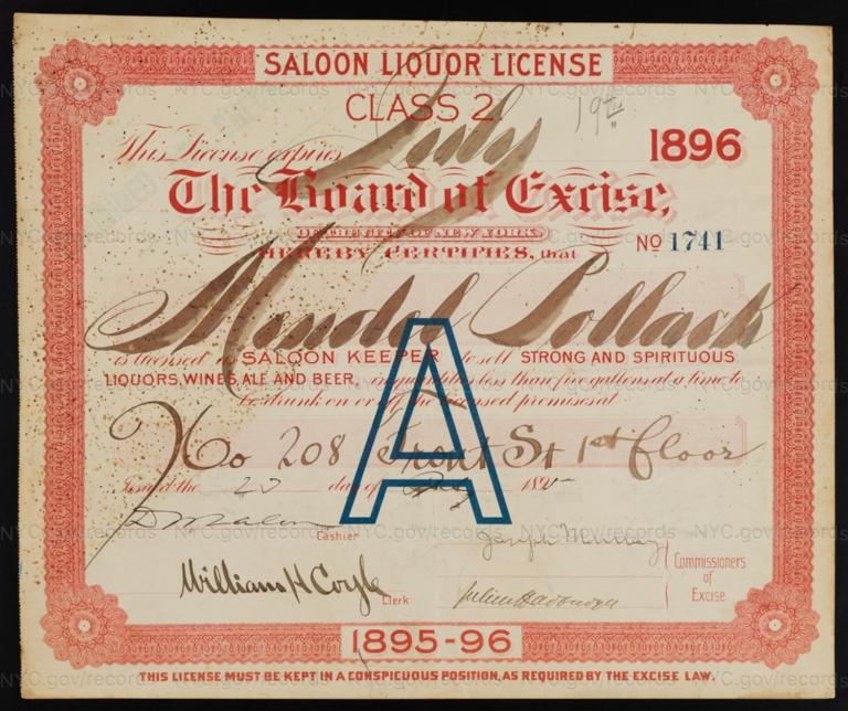 License No. 1741: Mendel Pollack, 208 Front St.