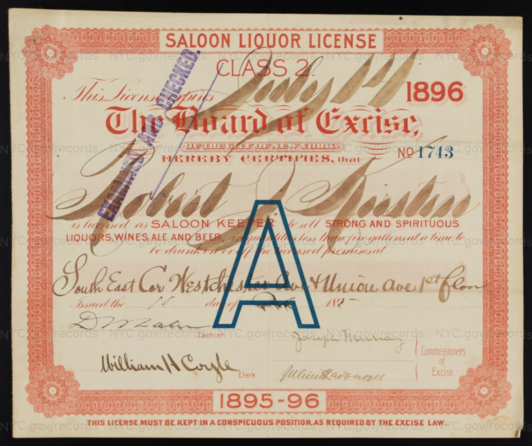 License No. 1743: Robert Kirstin, southeast corner of Westchester Avenue and Union Avenue; assigned to Edward Hecht