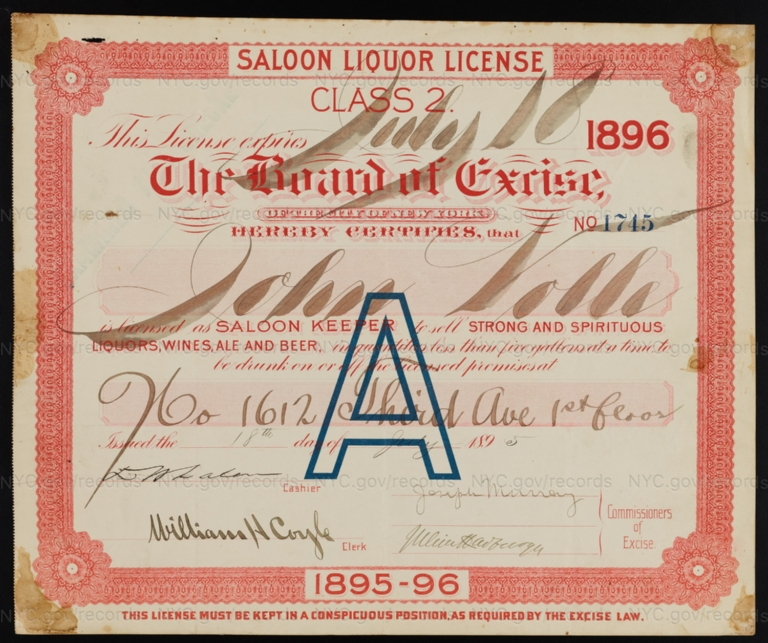 License No. 1745: John Volle, 1612 Third Ave.