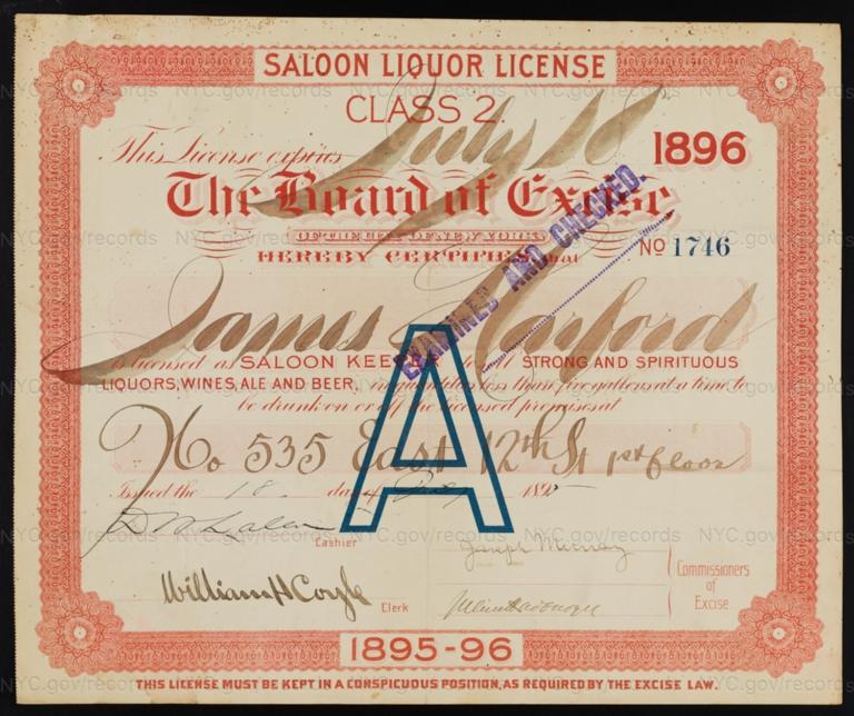 License No. 1746: James Harford, 535 E. 12th St.; assigned to Samuel Arbeid