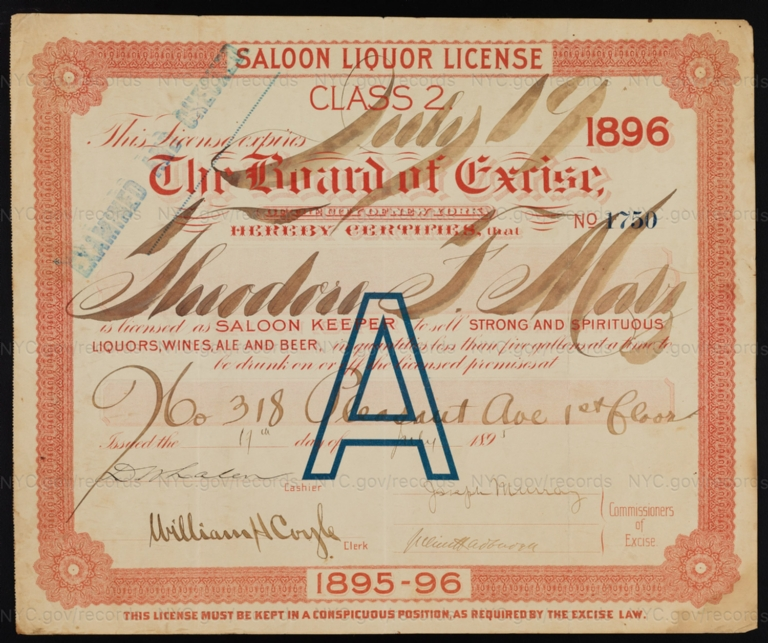 License No. 1750: Theodore Matz, 318 Pleasant Ave.; assigned to George Ehret
