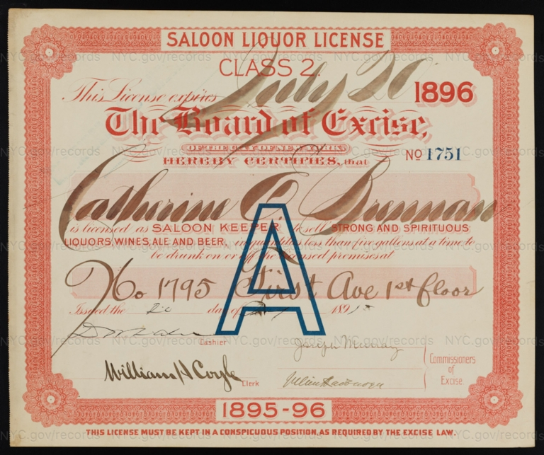 License No. 1751: Catherine Brennan, 1795 First Ave.; assigned to Bernheimer & Schmid Brewery