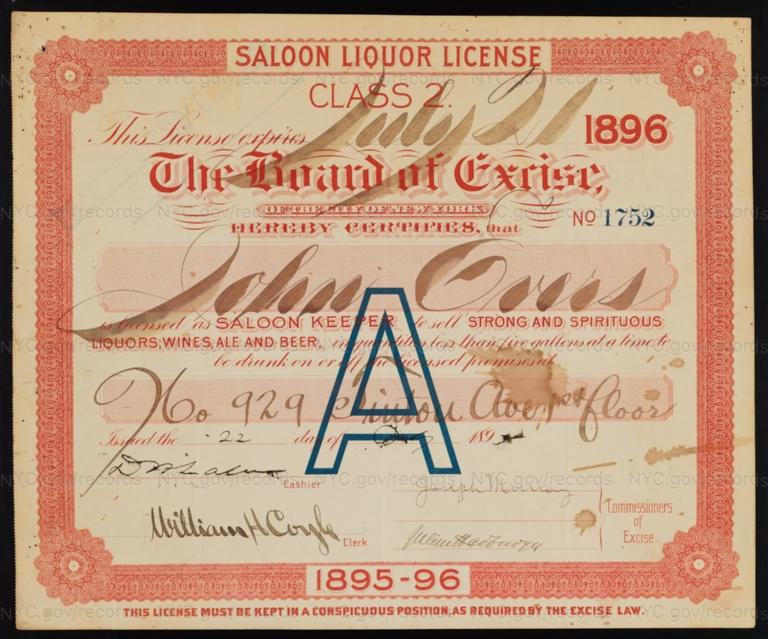 License No. 1752: John Evers, 929 Tinton Ave.