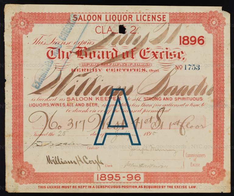 License No. 1753: William Baader, 317 W. 41st St.; assigned to Albert Bogert