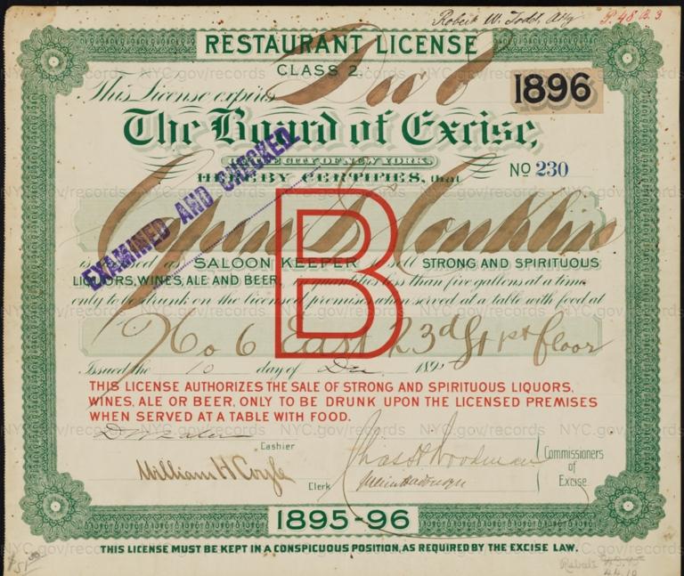 License No. 230: Charles Capen and Cornelius Conklin, 6 E. 23rd St.