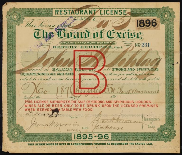 License No. 231: John Pehlag, 187 Chrystie St.