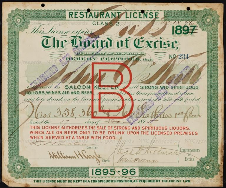 License No. 234: John O'Neill, 358-360 Sixth Ave.