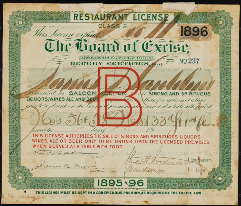License No. 237: James J. Lautelme, 56-58 W. 33rd St.; assigned to Thomas E. Leeman