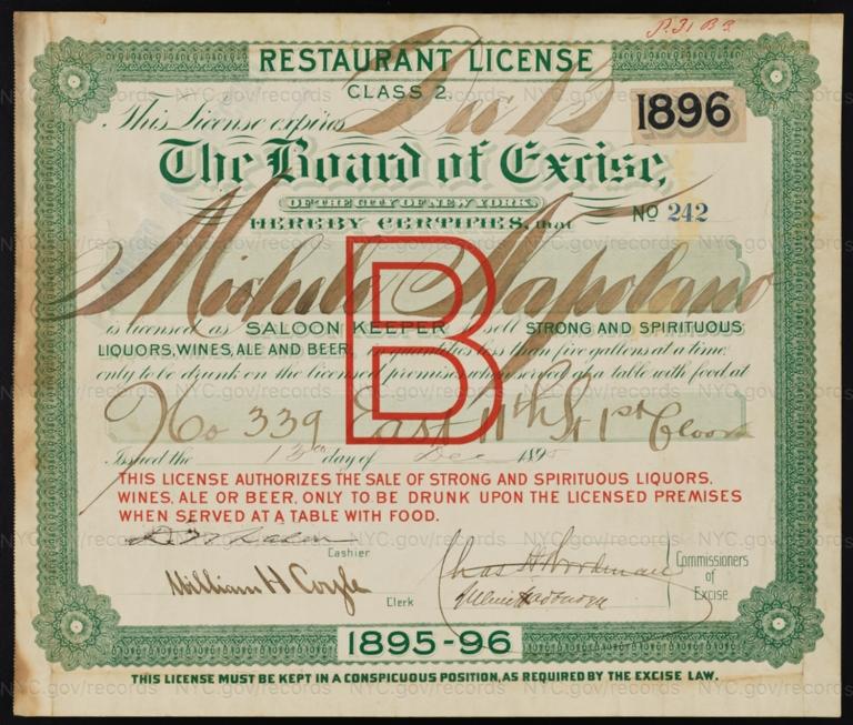 License No. 242: Michele Napolano, 339 E. 11th St.; assigned to Carser Laforte