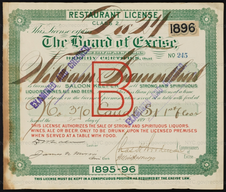 License No. 245: William Frauenthal, 370 Canal St.