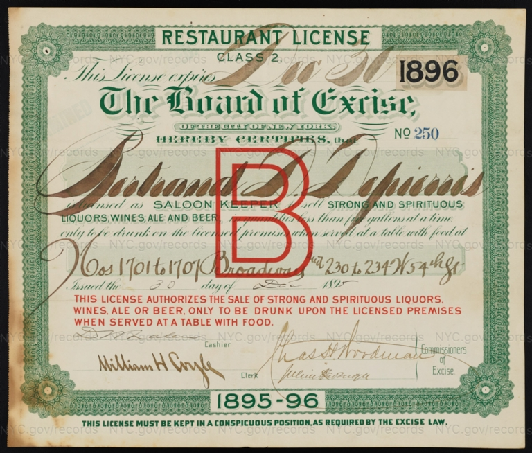 License No. 250: Betrand D. Depierris, 1701-1707 Broadway and 230-234 W. 54th St.; assigned to Moton D. Moss and then Arthur Waterman