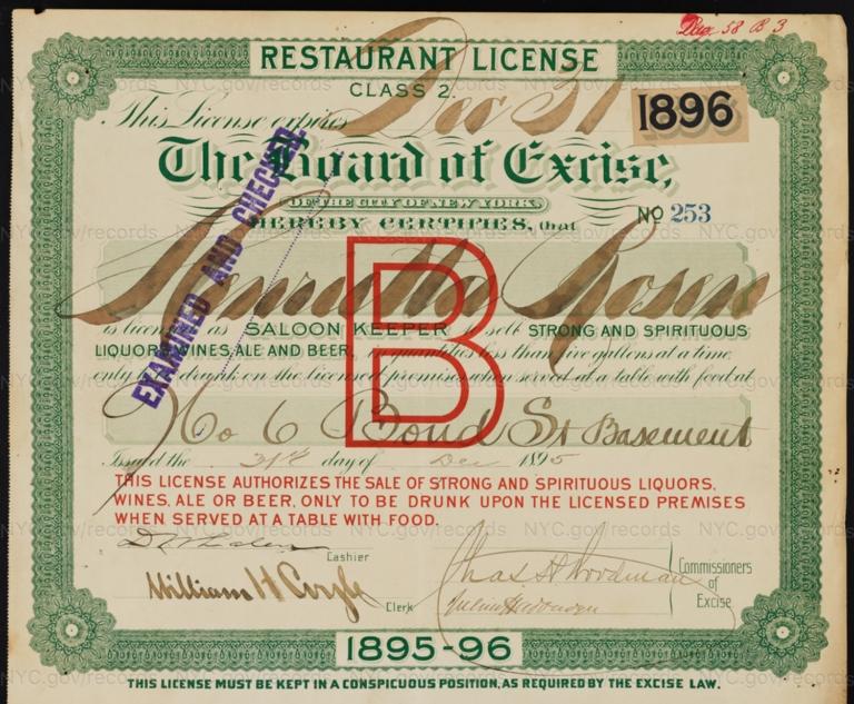 License No. 253: Henrietta Rosen, 6 Bond St.