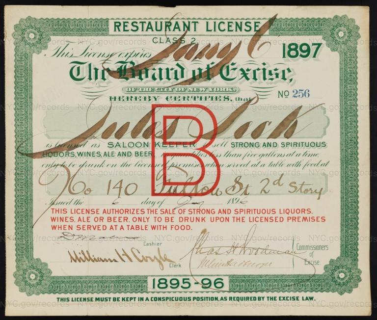 License No. 256: Jules Peck, 140 Fulton St.