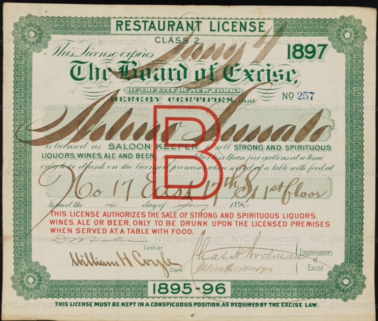 License No. 257: Arturo Lunati, 17 E. 17th St.; assigned to Excelsior Brewing Co. and then to Peter C. Nickel