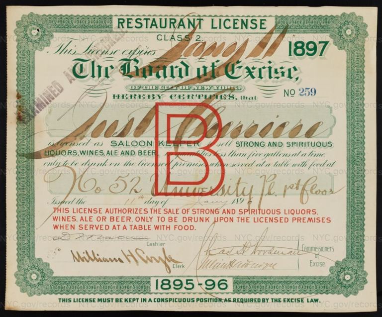 License No. 259: Just Cherriere, 52 University Place; assigned to Thomas E. Leeman