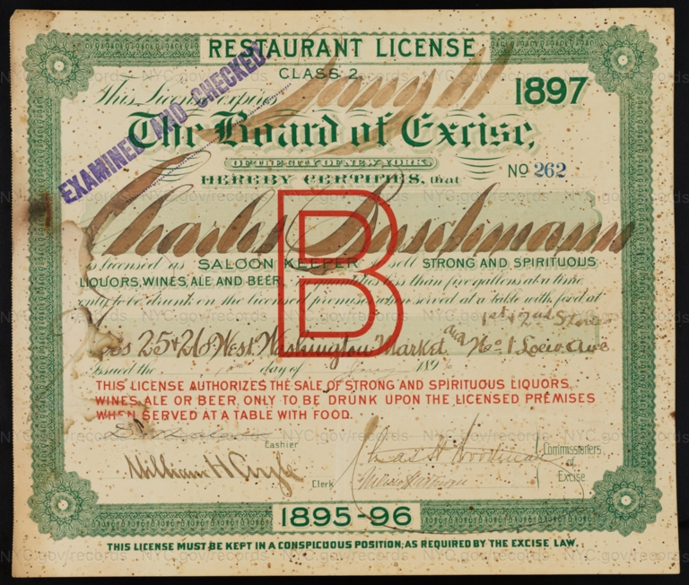 License No. 262: Charles Buschmann, 25-26 West Washington Market and 1 Loew Ave.