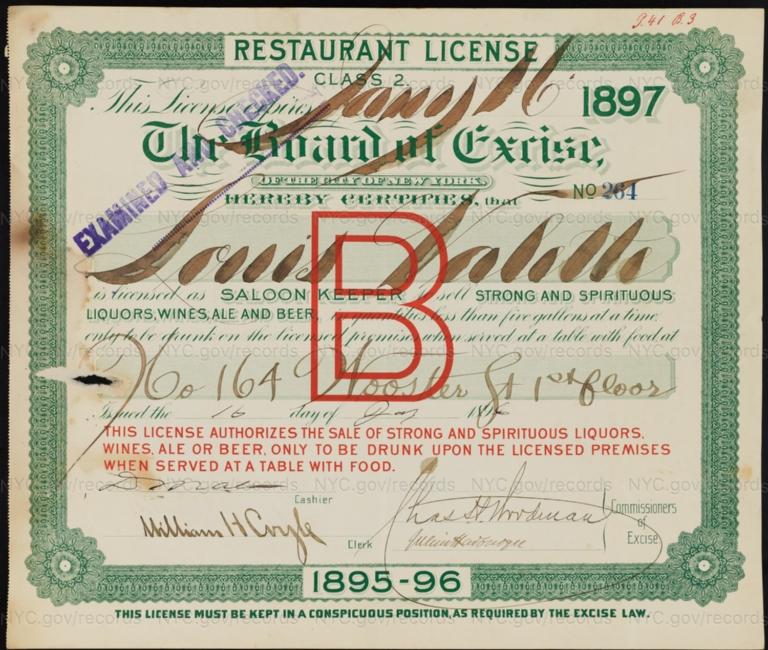 License No. 264: Louis Valette, 164 Wooster St.
