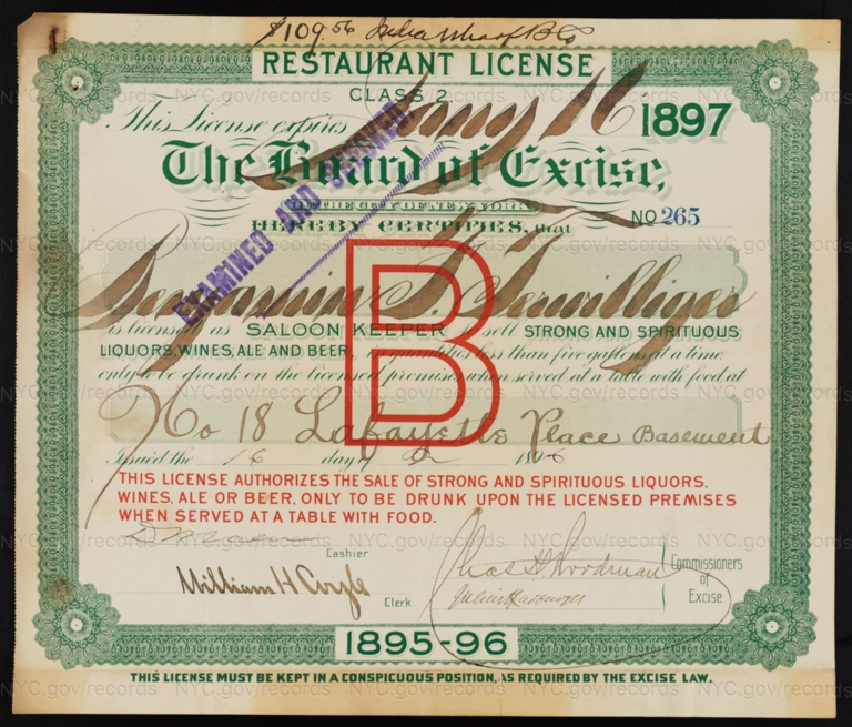 License No. 265: Benjamin F. Terwilliger, 18 Lafayette Place