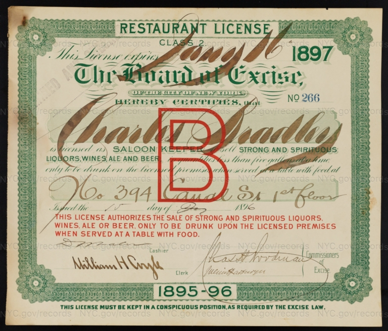 License No. 266: Charles Bradley, 394 Canal St.; assigned to Bernheimer & Schmid Brewery