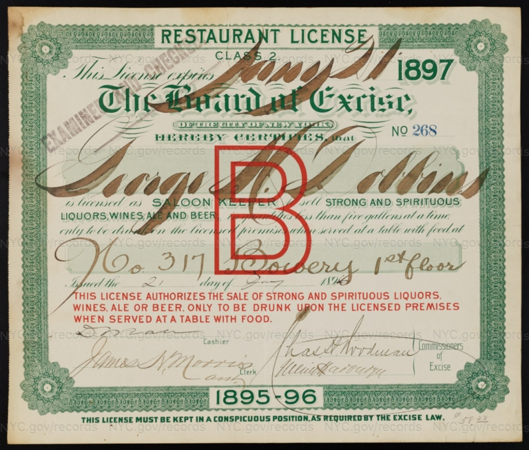 License No. 268: George H. Dobbins, 317 Bowery; assigned to Leland H. Miner and Jesse Minor