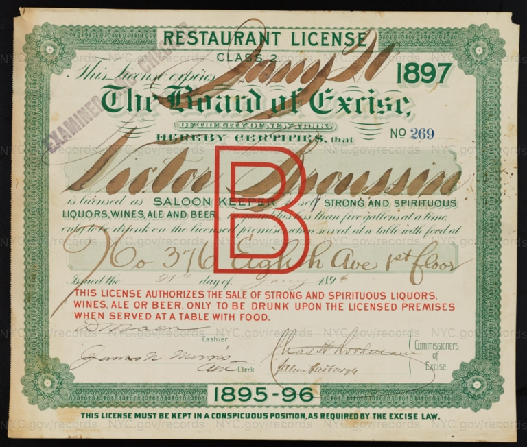 License No. 269: Victor Broussin, 376 Eighth Ave.