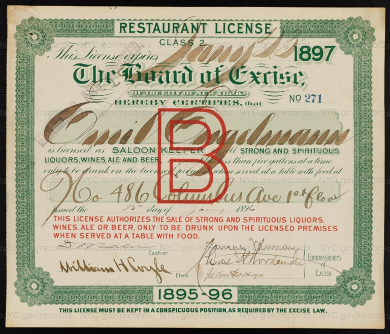 License No. 271: Emil Engelmannn, 486 Columbus Ave.