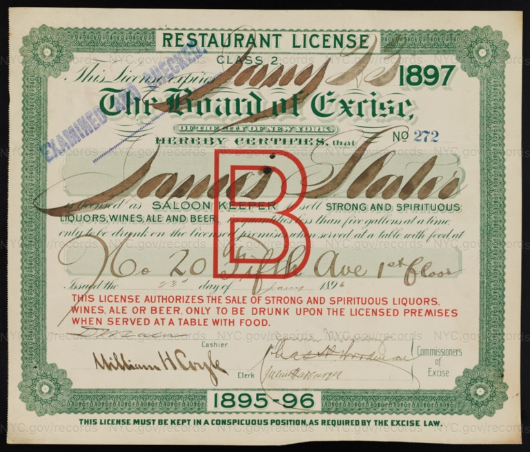 License No. 272: James Slater, 20 Fifth Ave.