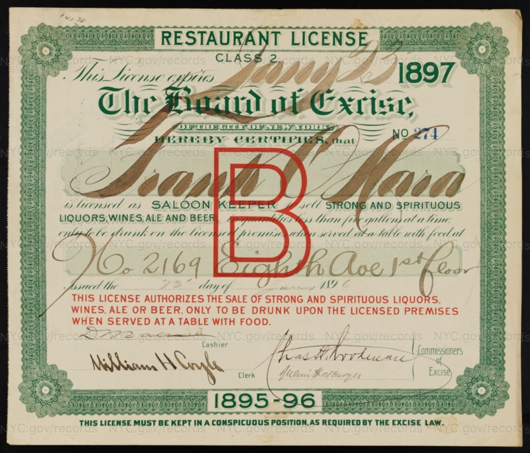 License No. 274: Frank O'Hara, 2169 Eighth Ave.; assigned to Bernheimer & Schmid Brewery
