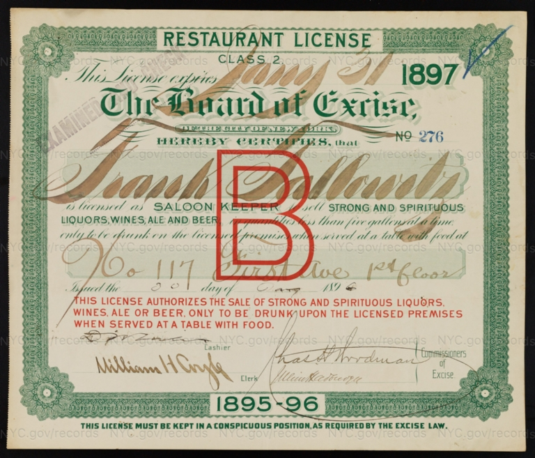 License No. 276: Frank Tallowitz, 117 First Ave.; assigned to George Ringler & Company