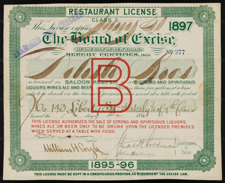License No. 277: Delisle Bros., 143 Liberty St.; assigned to Benjamin Treier and then to H. Koehler & Co.
