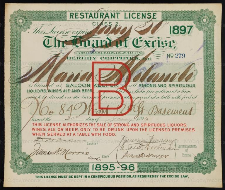 License No. 279: Maria Milanoli, 84 W. 12th St.