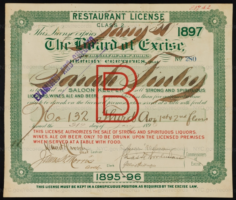License No. 280: Sarah Finley, 132 Third Ave.; assigned to H. Koehler & Co.