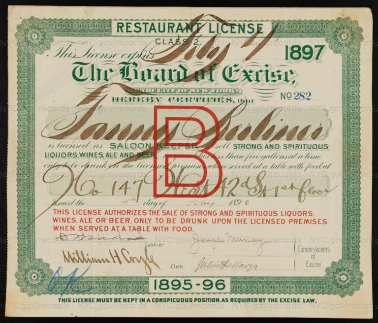 License No. 282: Fanny Berliner, 147 W. 42nd St.; assigned to Berliner Brothers