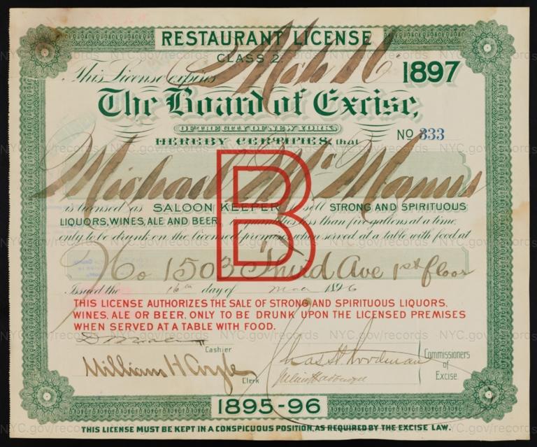 License No. 333: Michael McManus, 1503 Third Ave.