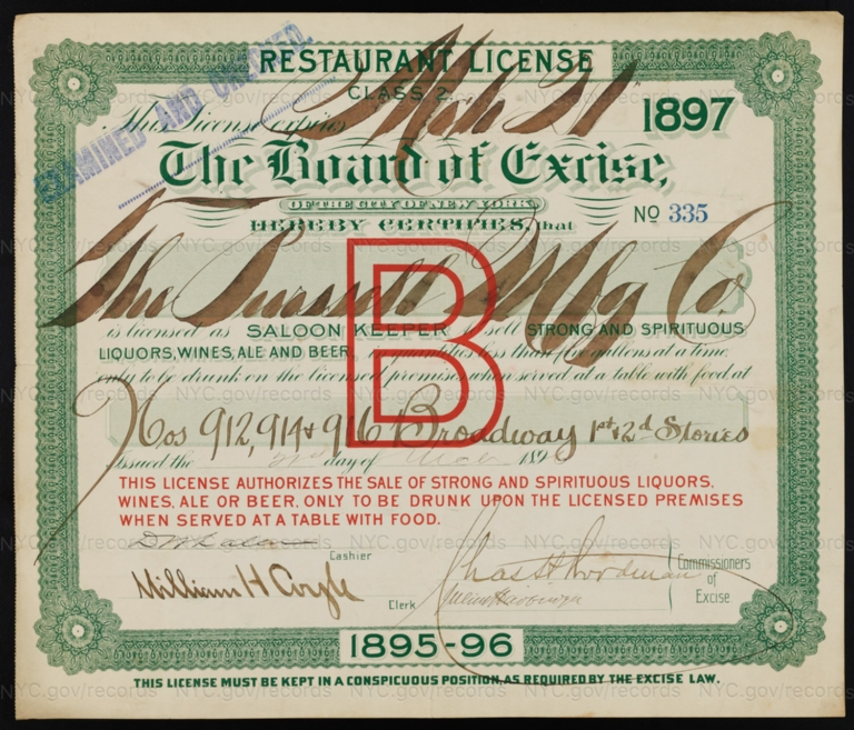 License No. 335: The Purssell Manufacturing Company, 912-916 Broadway