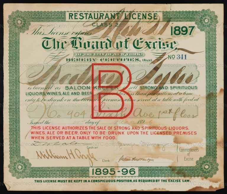 License No. 341: Rodney Tyler, 904 Sixth Ave.; assigned to F. & M. Schaefer Brewing Company
