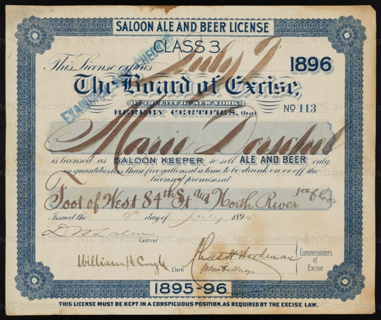 License No. 113: Marie Dorschel, foot of West 84th Street and North River