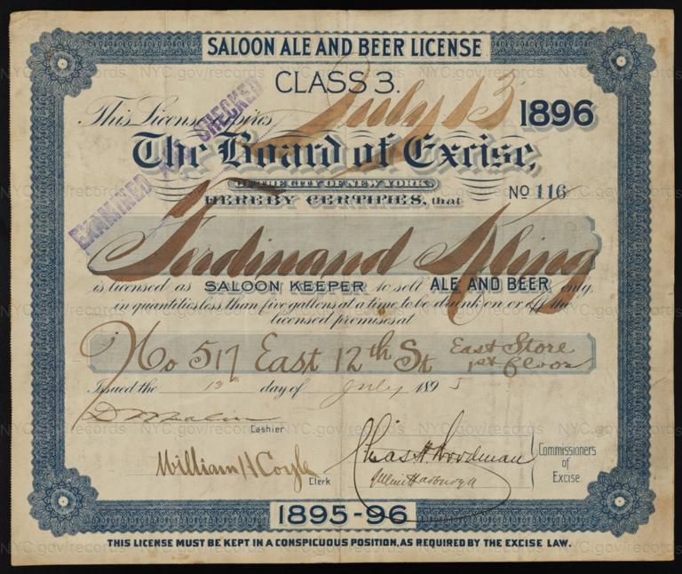 License No. 116: Ferdinand Kling, 517 E. 12th St.; assigned to Paul Weidmann Brewing Co.