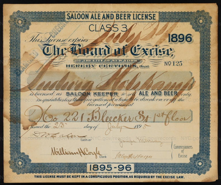 License No. 125: Ludwig Holzkamp, 221 Bleecker St.; assigned to Winfield S. Taylor