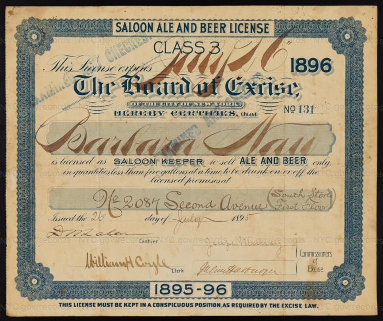 License No. 131: Barbara Nau, 2087 Second Ave.; assigned to Peter Gunston