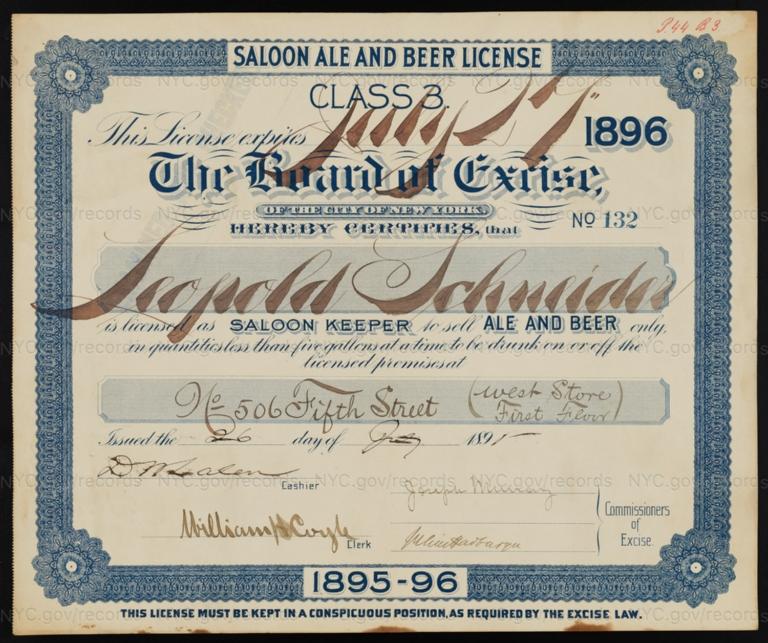 License No. 132: Leopold Schneider, 506 E. Fifth St.