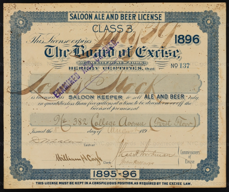 License No. 137: Louis Stock, 382 Collage Ave.; assigned to Henry Zeltner Brewing Company