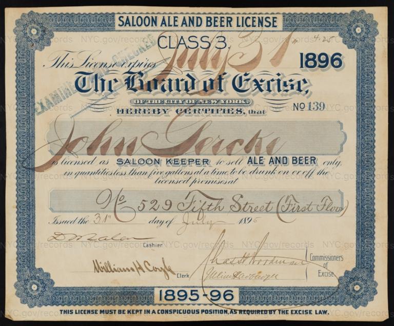 License No. 139: John Gercke, 529 E. Fifth St.