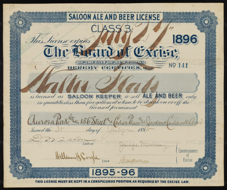 License No. 141: Walter Flatz, Aurora Park between 156th Street and Cedar Place and Jackson and Cauldwell Avenues [Bronx]; assigned to Rudolph M. Myres