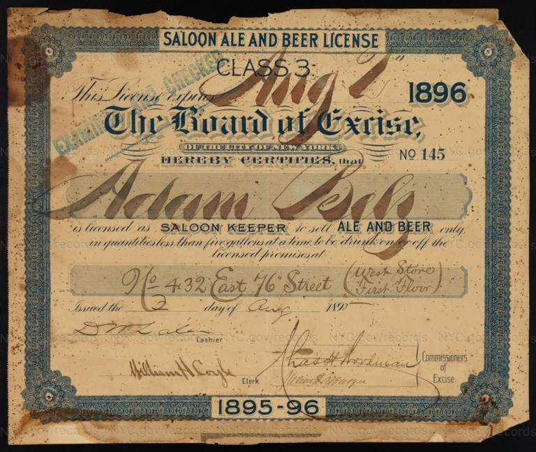 License No. 145: Adam Belz, 432 E. 76th St.; assigned to Marnie Hannigan