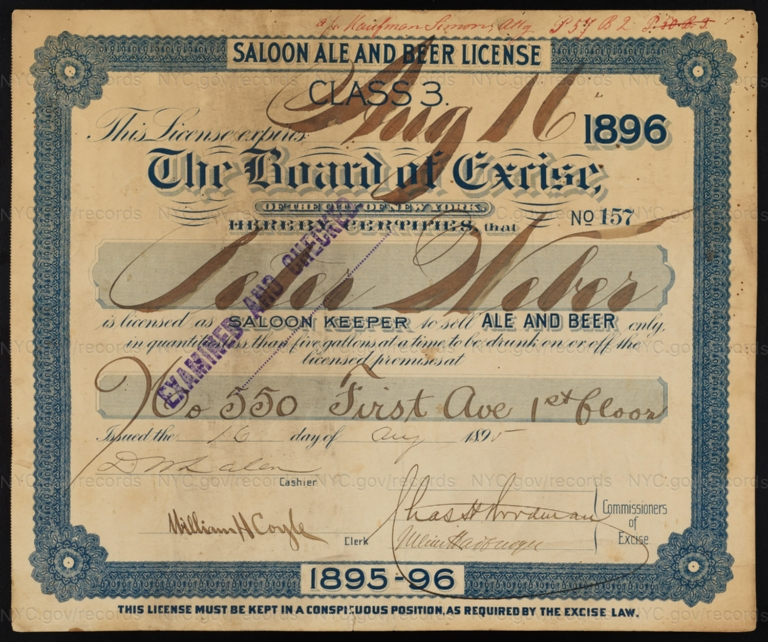 License No. 157: Peter Weber, 550 First Ave.