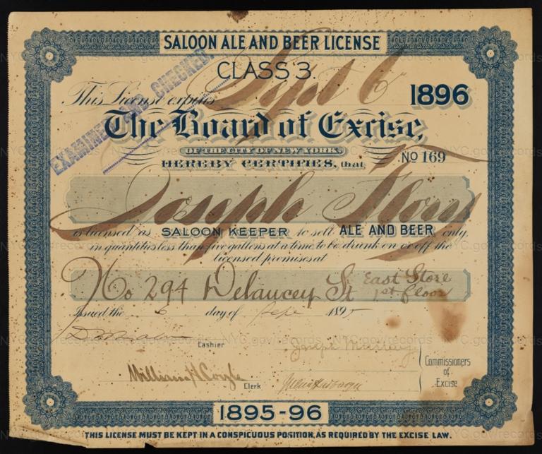 License No. 169: Joseph Flory, 294 Delancey St.