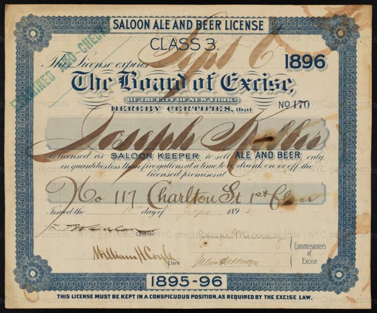 License No. 170: Joseph Keller, 117 Charlton St.