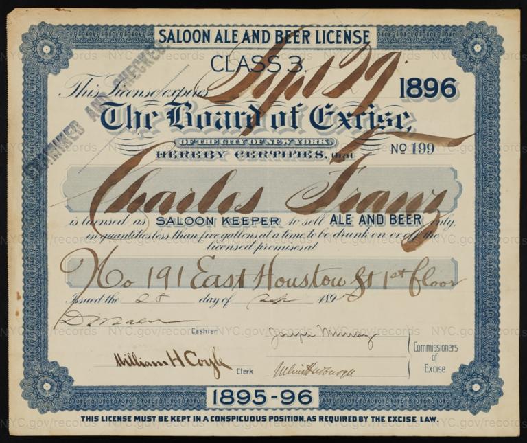 License No. 199: Charles Franz, 191 E. Houston St.