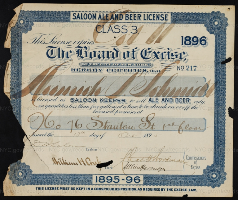 License No. 217: Henrich P. Schmidt, 76 Stanton St.